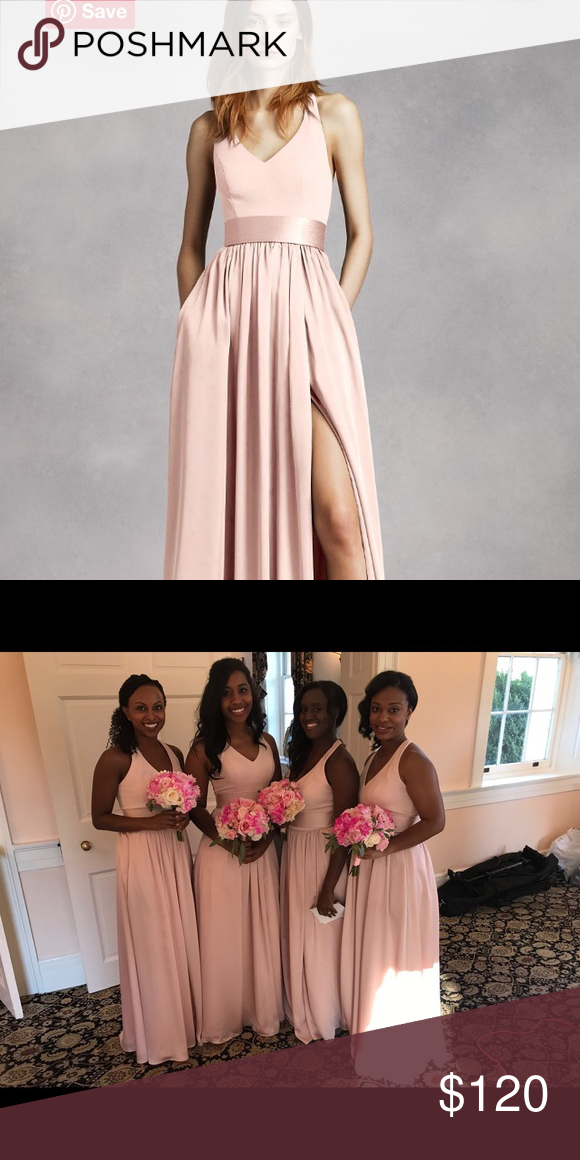 a21db58d37 VERA WANG V Neck Halter Gown with Sash -- Blush I have a size 2 ...