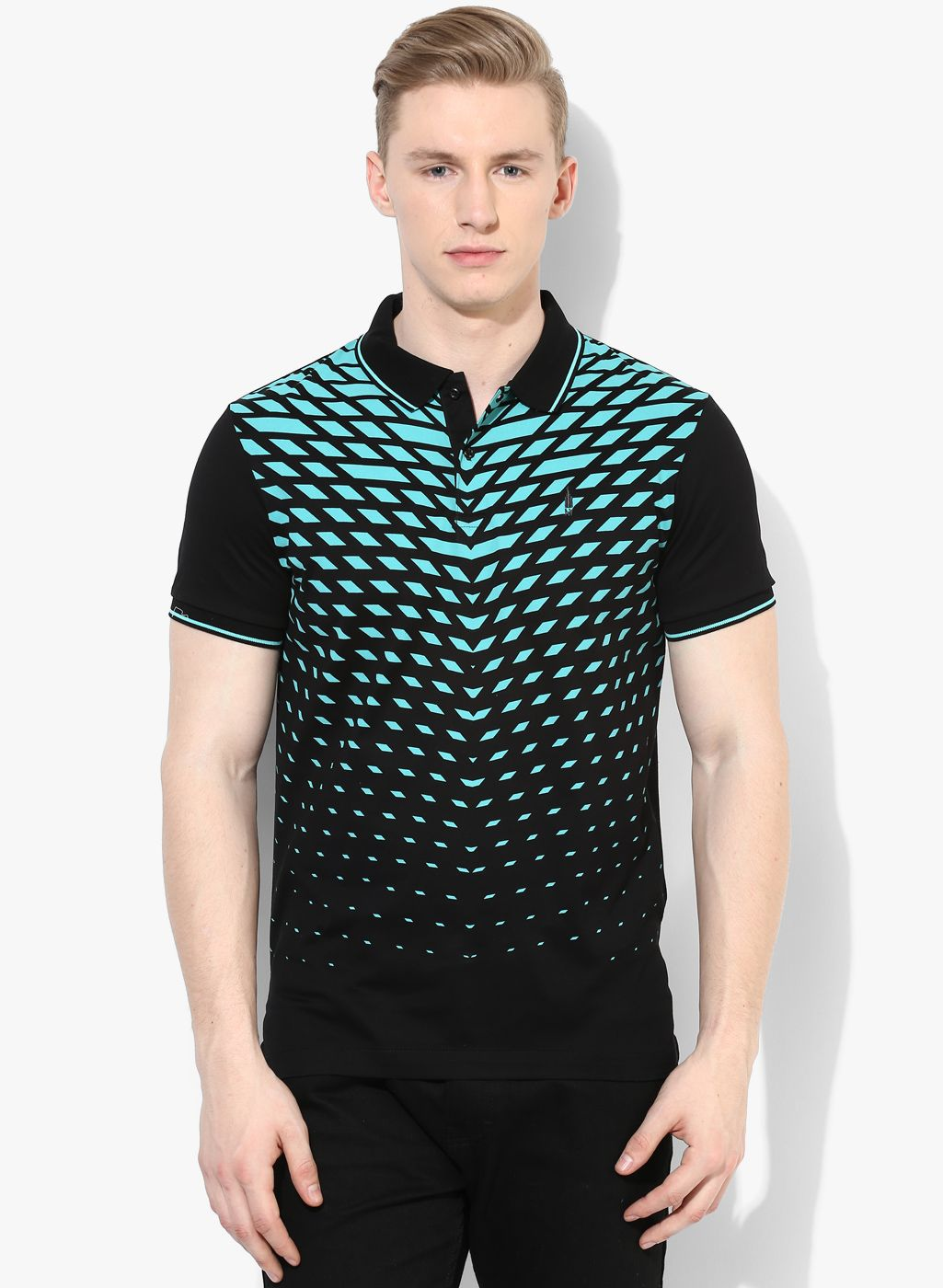 Arrow New York Black Printed Regular Fit Polo T-Shirt - 0 - Jabong.com