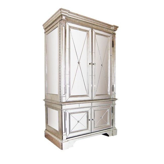 Antique Gold Finished Mirrored Armoire With Clear Mirror Top, Sides And  Front. Diamond Patterned Clear Mirror Fascia Panels With Ring Detail  Handles.