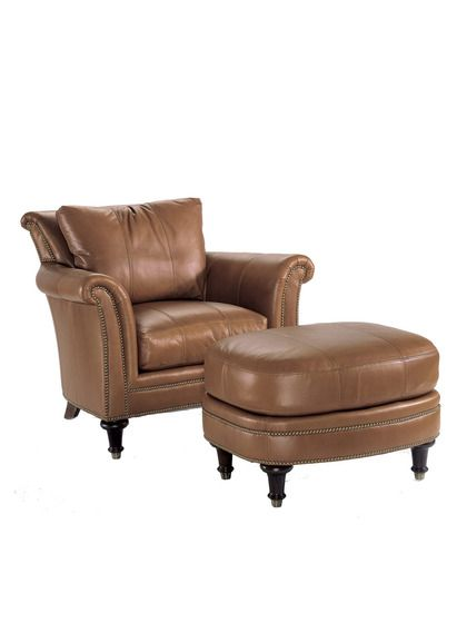 Surrey Leather Chair & Leather Ottoman