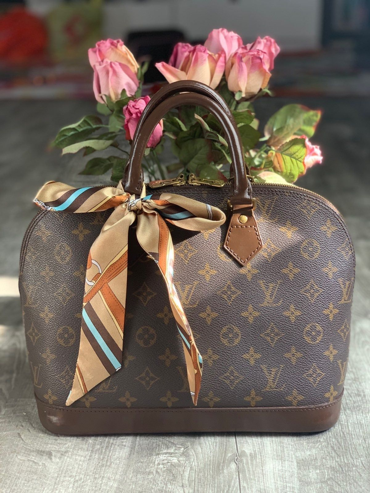 Vintage Preloved Louis Vuitton Alma Pm Painted With Brown Color