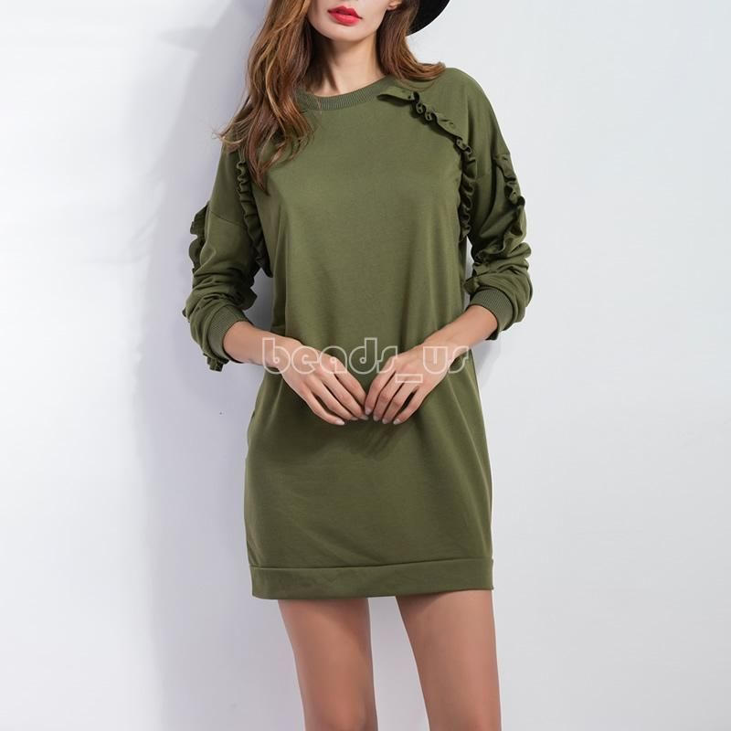 Winter Women Sweatshirt Short Dress Casual Long Tops Army Green Sweater Pullover