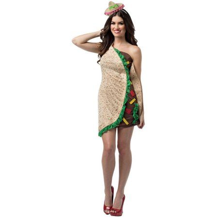 Spicy Taco Dress Women's Adult Halloween Costume, 1 Size, Size: One-Size, Multicolor