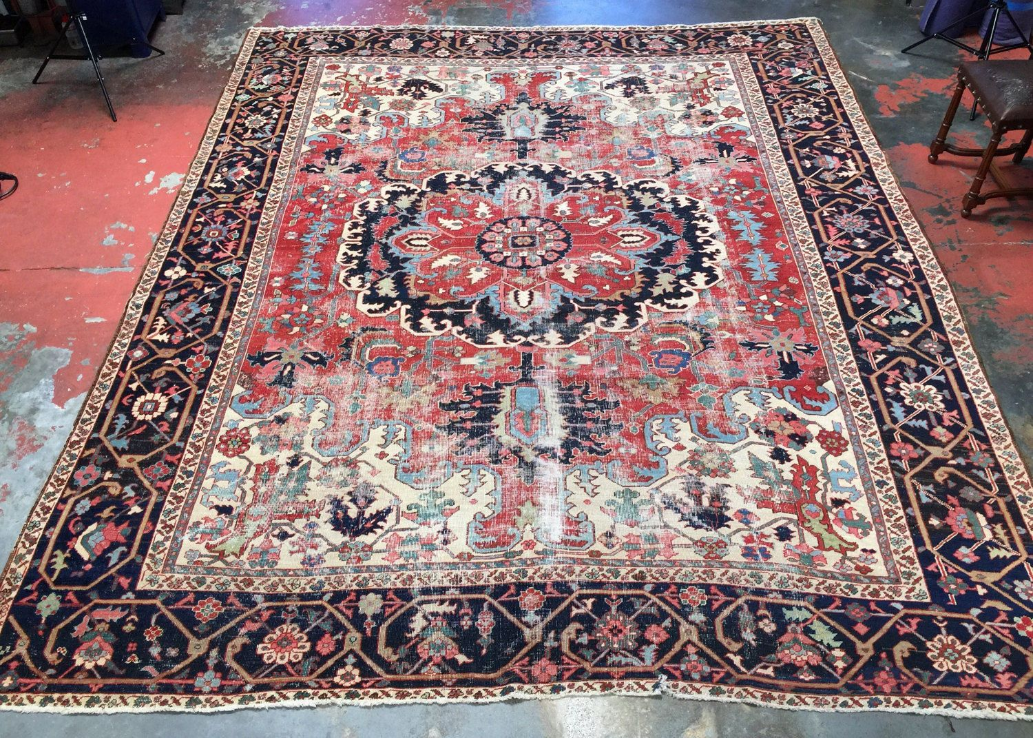 Rare Antique Heriz Serapi Rug 10x12 Magnificent By Antieksman Serapi Rug Rugs Distressed Rugs