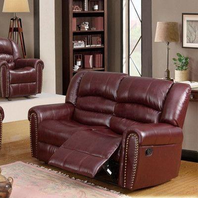 Meridian Furniture USA Nailhead Reclining Loveseat Upholstery: Burgundy
