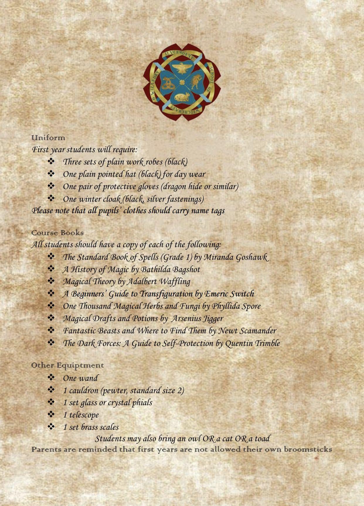 Ilvermorny supply list Harry Potter