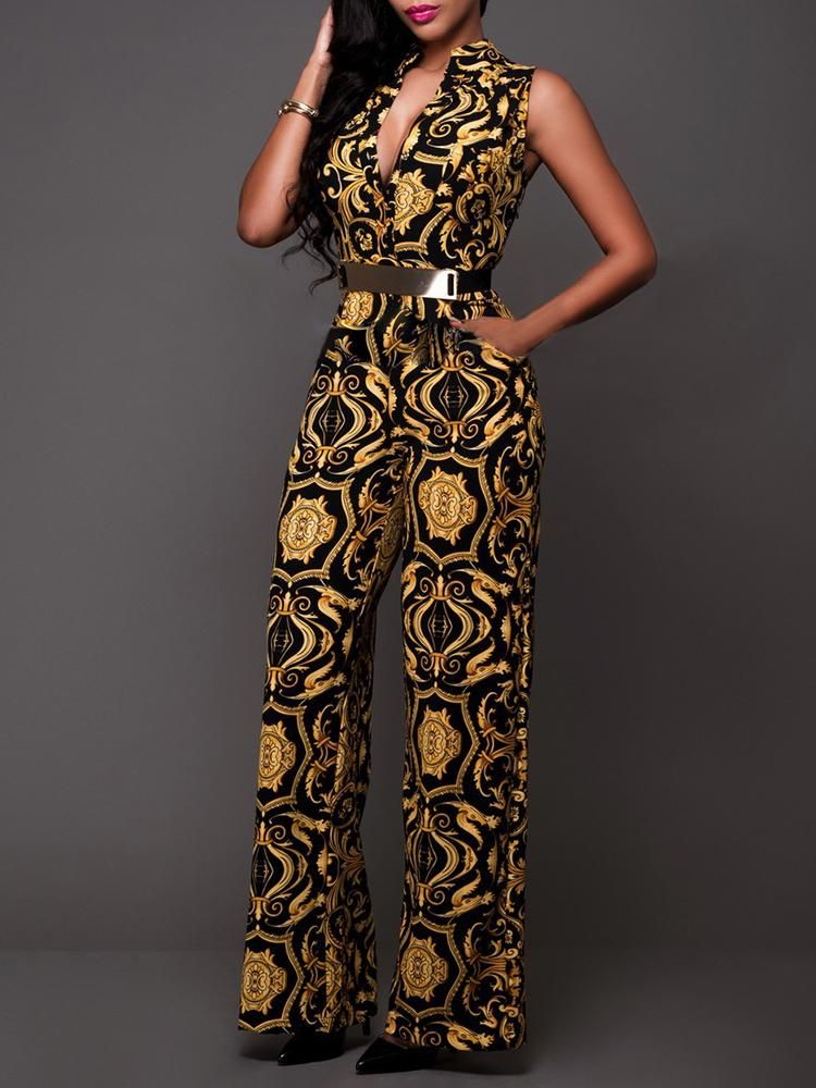 418d58938364 Shop Jumpsuits Retro Print V Neck Belted Jumpsuit | fashion in 2019 ...