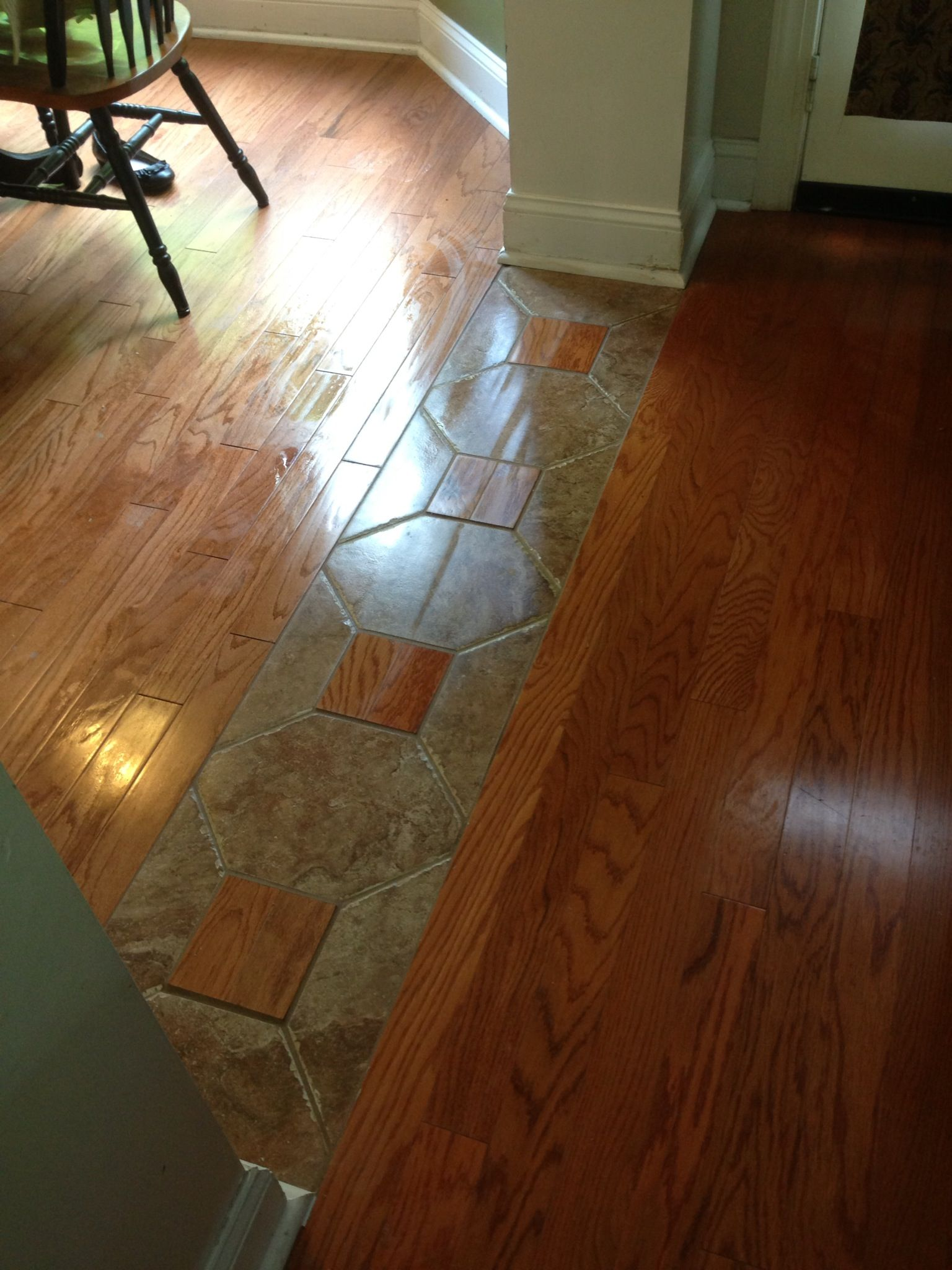 A really cool way to tie two different hardwood lots for Main floor flooring ideas