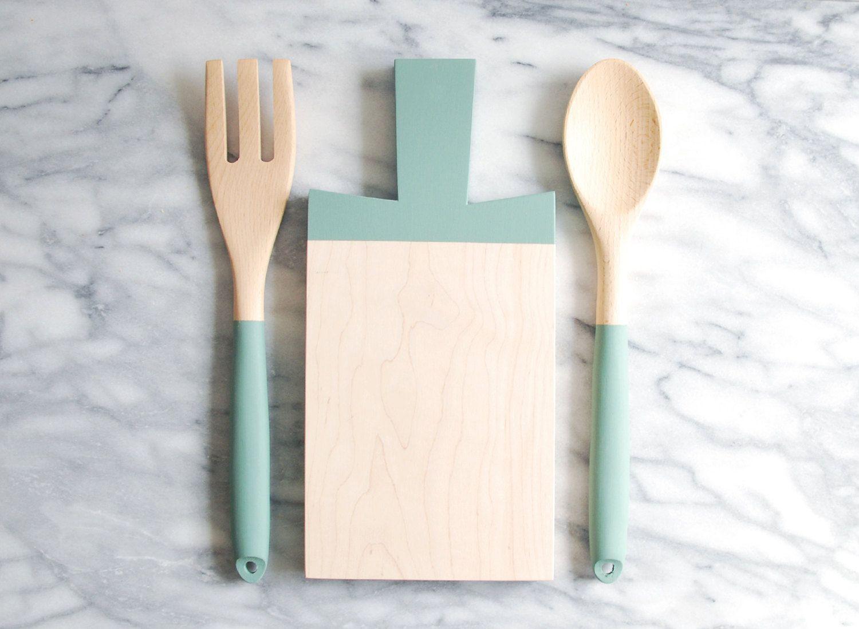 Paddle Schneidebrett Und Küche Besteck Set Von ForTheHost Auf Etsy