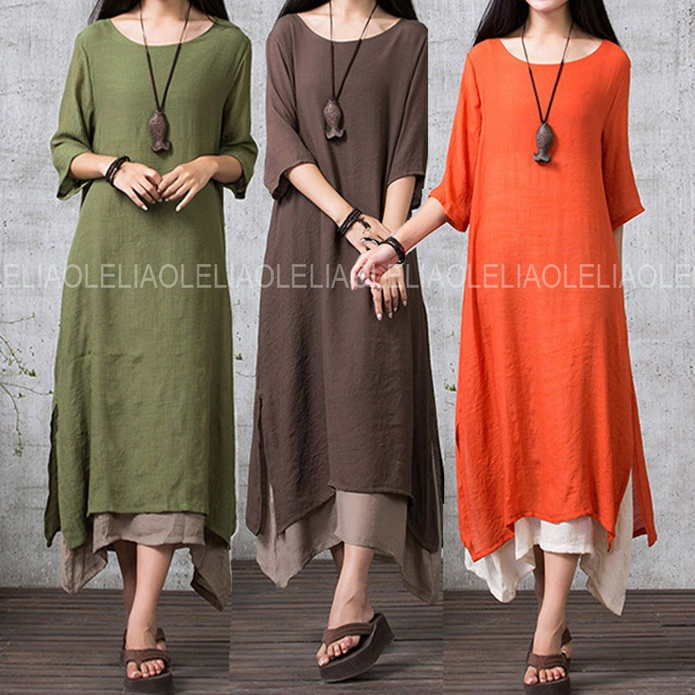 Vintage women casual loose sleeve boho cotton linen aline shirt