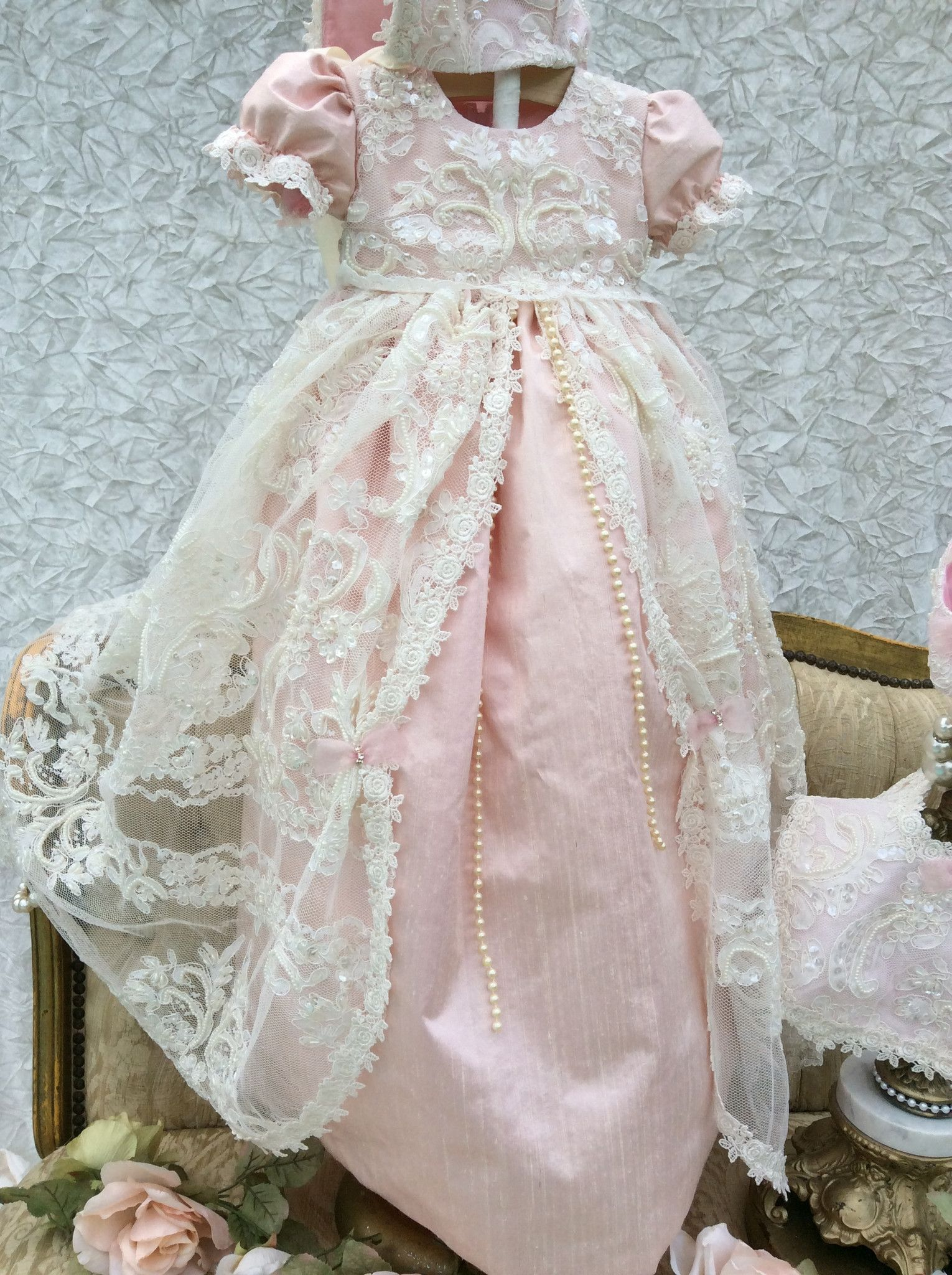 1930af370e6 Rose-Unique silk and lace Christening Gown Blush with Bonnet ...