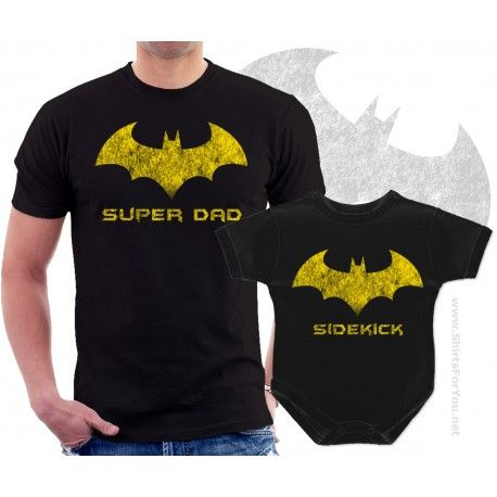 b7e471b0 Batman Super Dad and Sidekick Matching T-Shirt and Onesie for Dad and Baby.  Father and child matching outfit