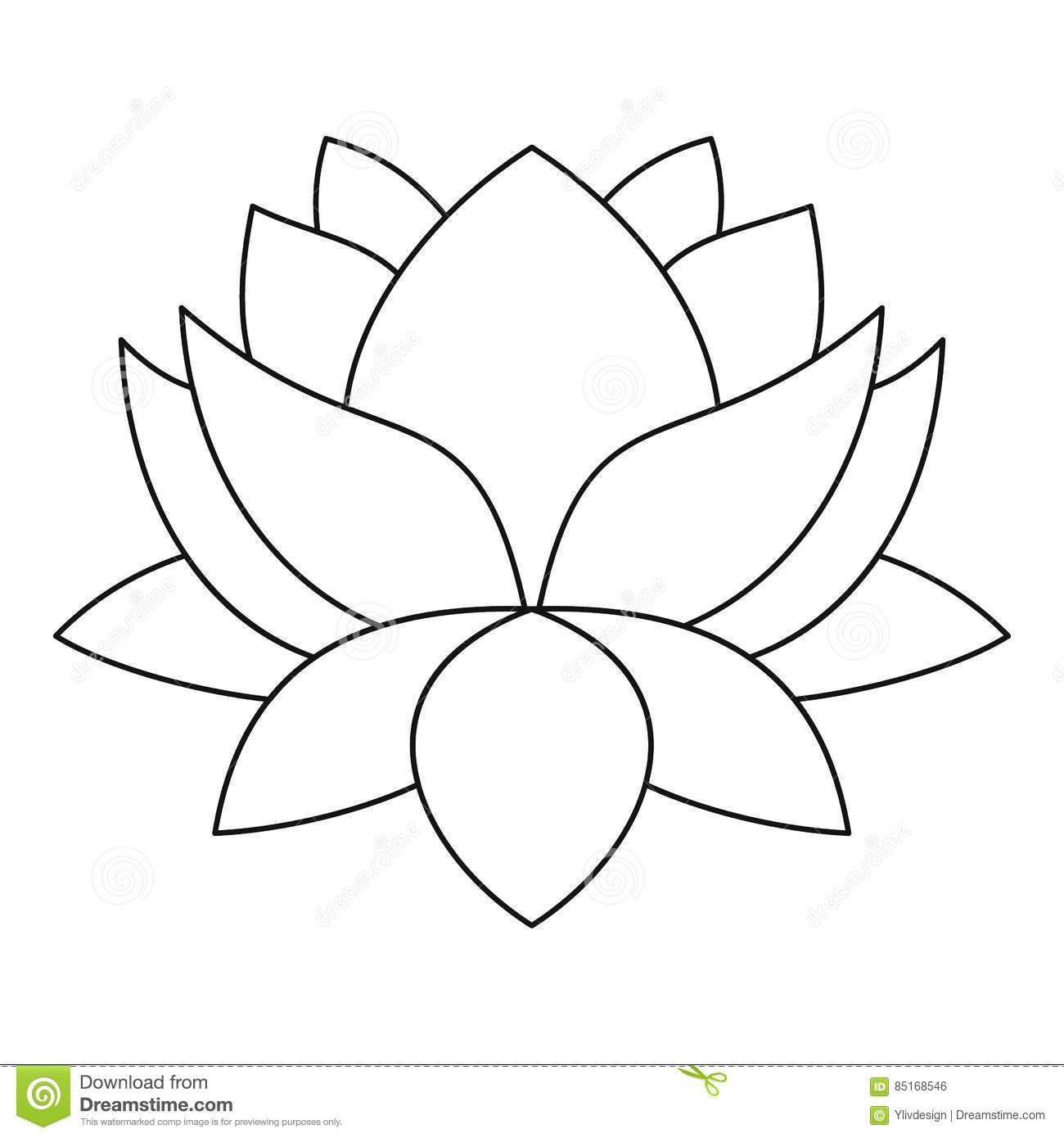 Lotus Flower Icon Outline Style Stock Vector Image 85168546