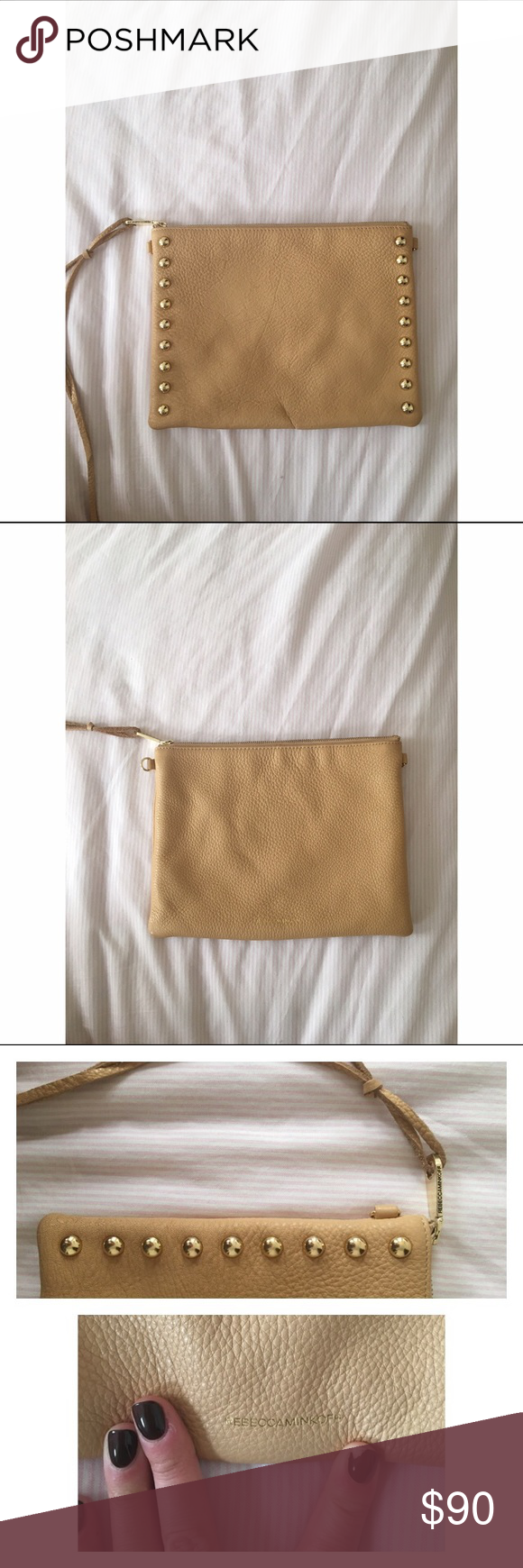 Rebecca Minkoff Beige Soft Studded Clutch Great condition!! Super cute designer clutch. Gold studs. Purchased at Saks. Only used 2 times. Rebecca Minkoff Bags Clutches & Wristlets