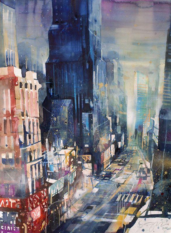Bernhard Vogel Times Square Bernhard Vogel Aquarell Stadt Land