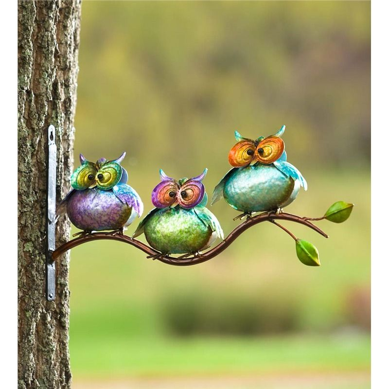 3 Metal Owls on Branch Wall Art | Garden & Outdoor Accessories ...
