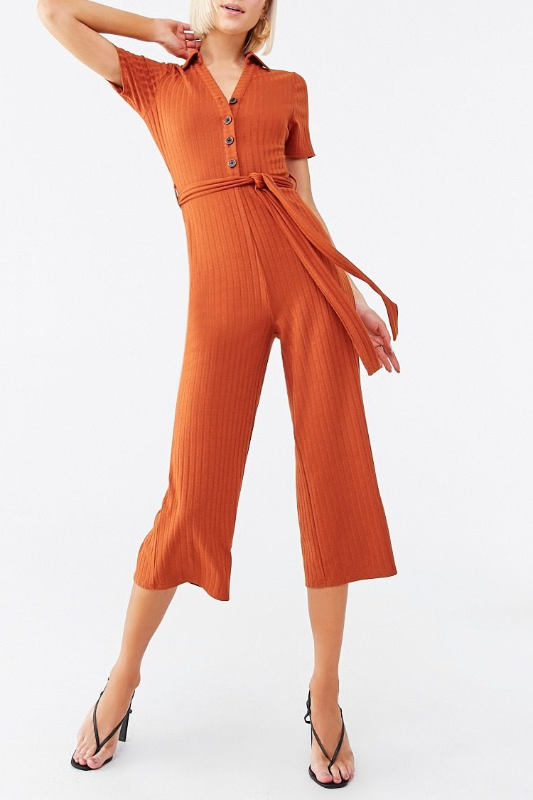 Ribbed Belted Henley Jumpsuit Forever 21 Jumpsuit Casual Jumpsuit Knit Jumpsuit