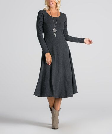 7c1be9658129 Another great find on #zulily! Charcoal Long-Sleeve Midi Dress #zulilyfinds