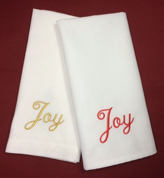 Set of 4 Script Joy Christmas Embroidered Cloth Napkins by WhiteTulipEmbroidery Christmas Table Ideas
