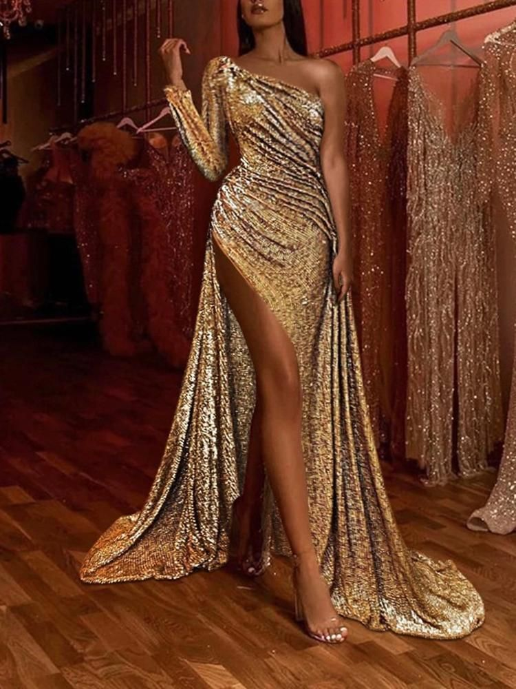 Women's Elegant Slit Sloping Shoulder Paillette Evening Dress