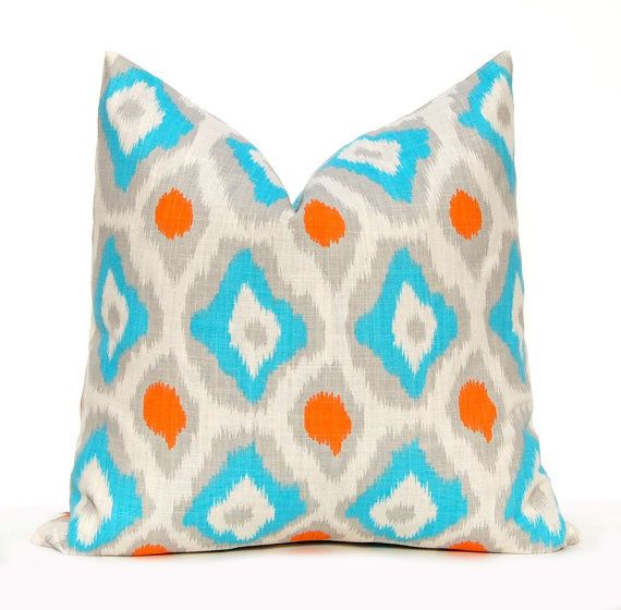 Decorative Throw Pillow Covers Turquoise Orange And Gray