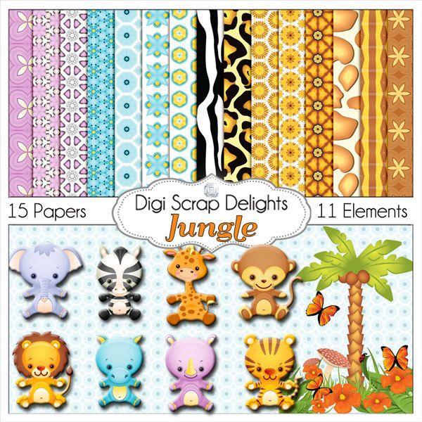 Jungle Scrapbook Kit Zoo Animals For Digital Scrapbooking Card