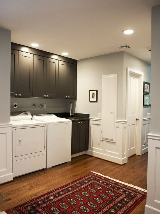 Fantastic Laundry Room With Light Gray Walls Paired With White