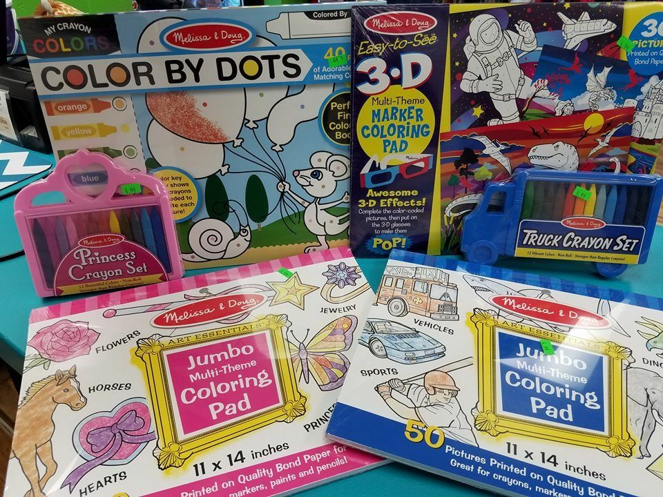 Today's stocking stuffer? The Melissa and Doug coloring pads and crayons! 30% off today come in and grab them for this steal of a deal!