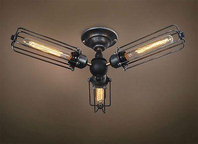 Cylinder 3 Lights Cage Flush Mount Ceiling Light Ceiling Lights Industrial Ceiling Lights Ceiling Lamp