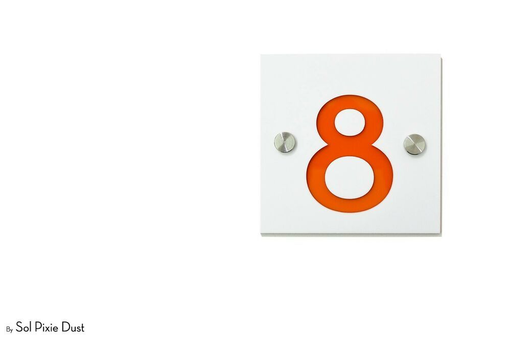 Door Number Sign Plaque Modern House Numbers,Square Black /& Purple Acrylic
