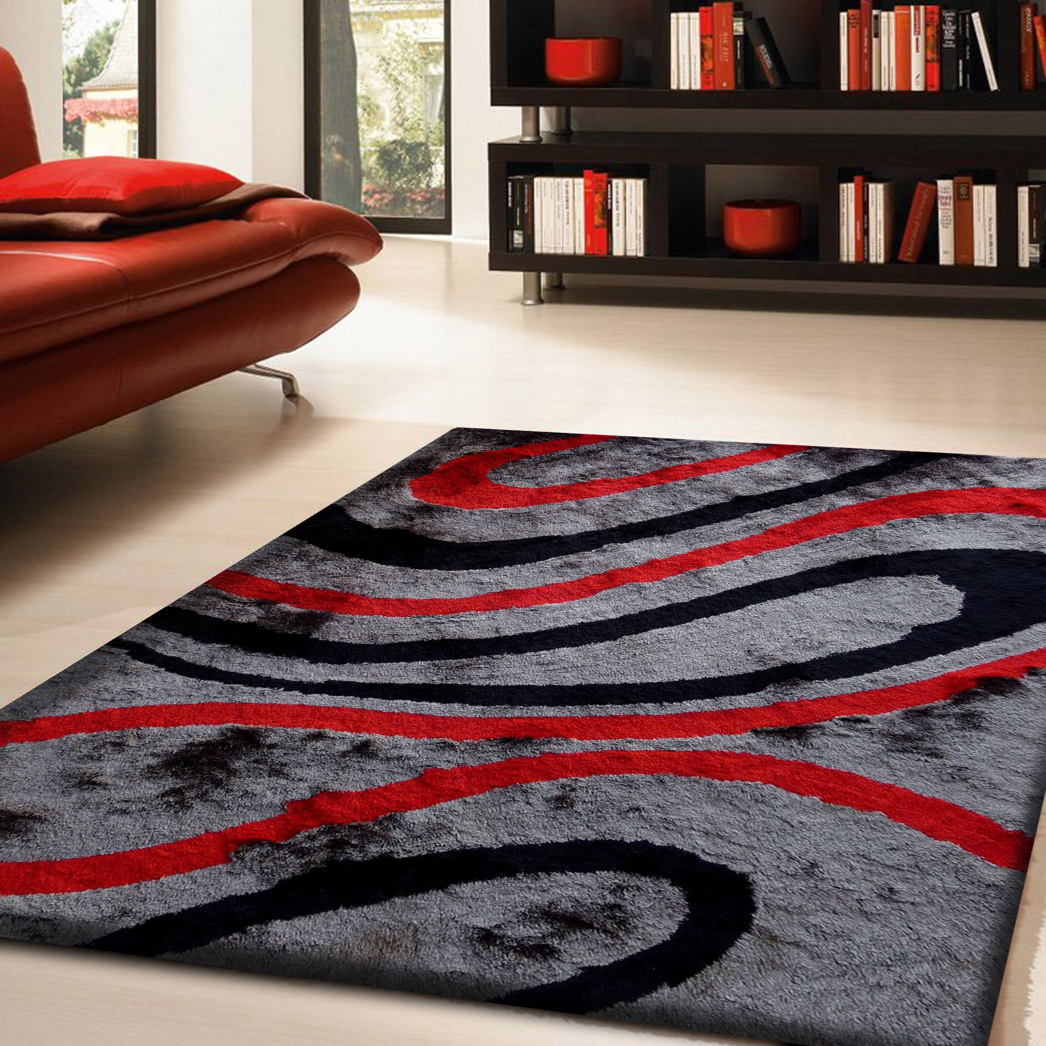 Gy Viscose Vibrant Ribbon Hand Tufted Area Rug Red Gray White