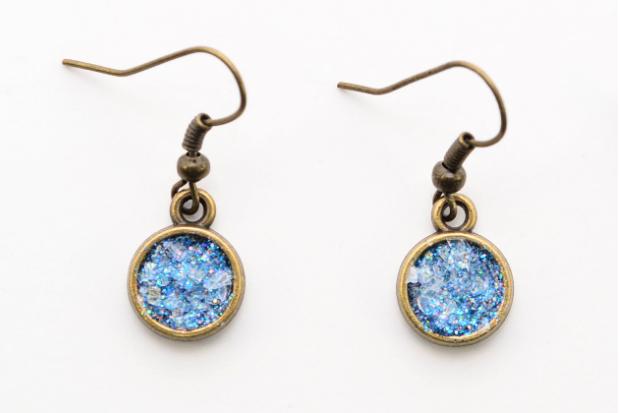 Finished Glitter Druzy Earrings