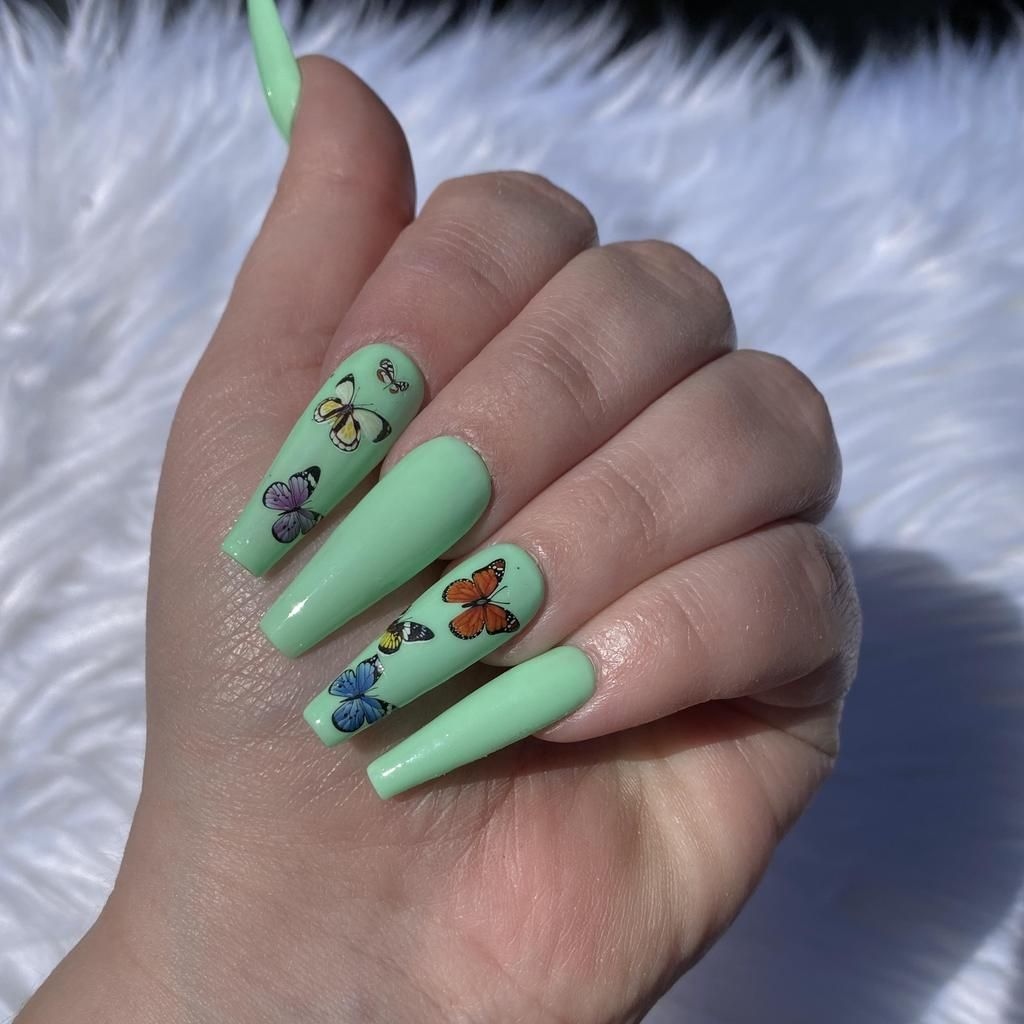 Cute Nail Designs For Every Nail Length In 2020 Green Nail Designs Green Nails Mint Nails