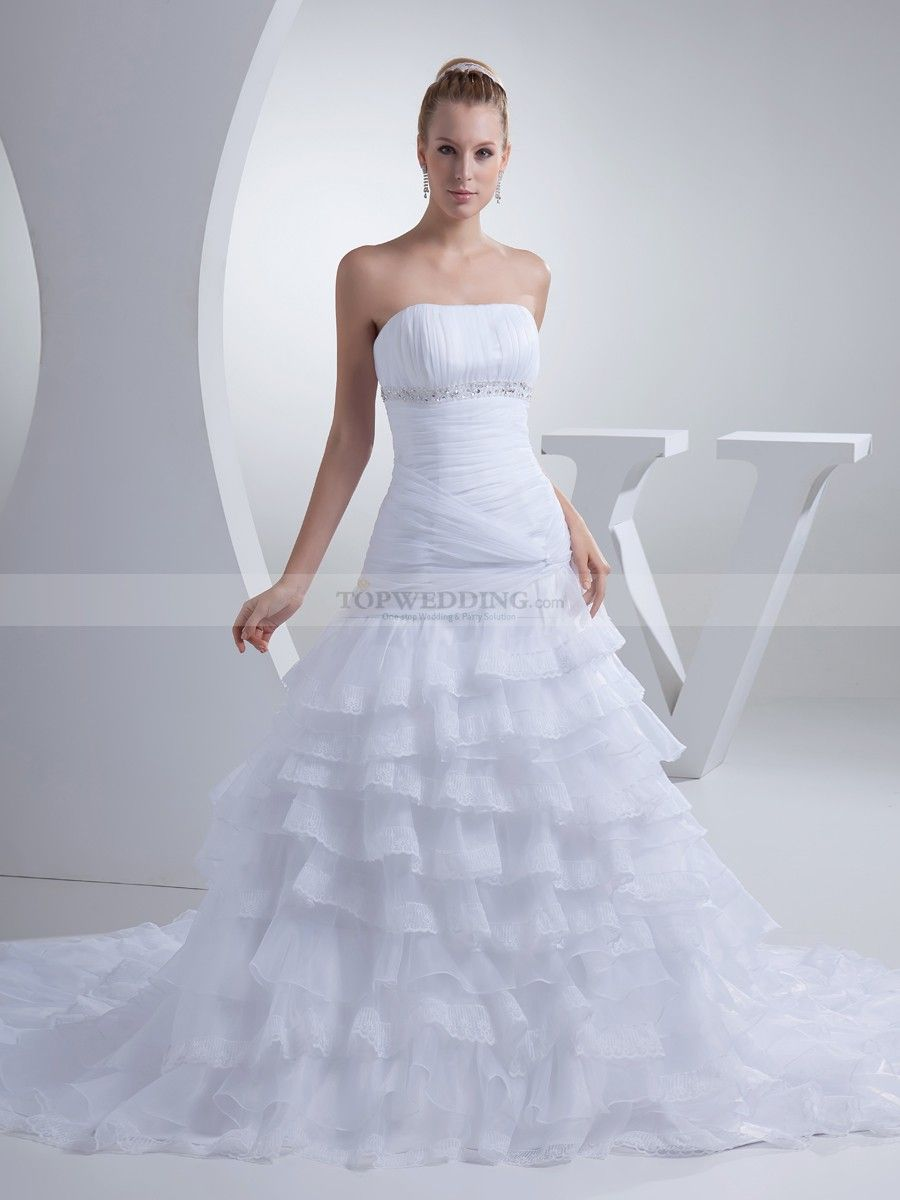 Strapless Organza and Satin Wedding Gown with Rich Ruffles