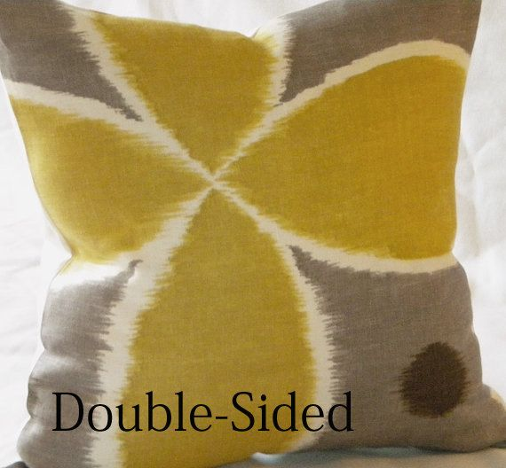 Ikat yellow grey brown linen pillow cover 16 x 16 by MicaBlue, $36.00
