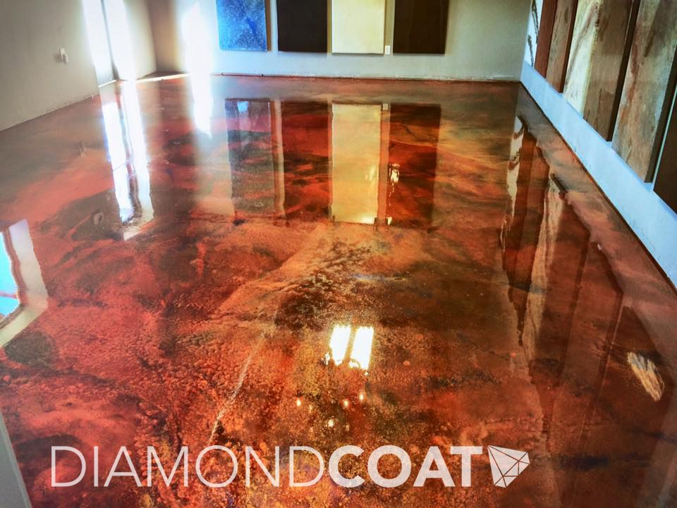 Fiery Red Gold And Copper Custom Epoxy Flooring