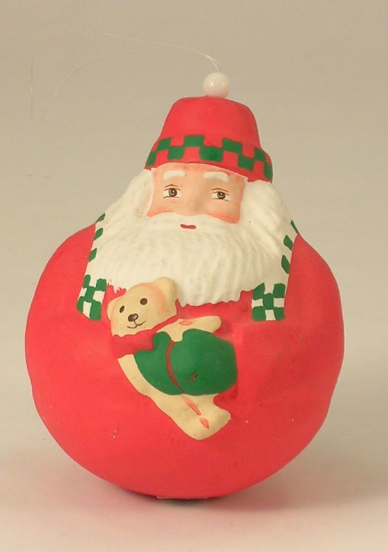 Dept. 56 Christmas Ornament a Rolly Polly Santa with a Teddy Bear