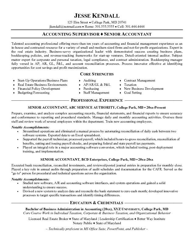 Senior Accountant Resume Format - Http://Www.Resumecareer.Info