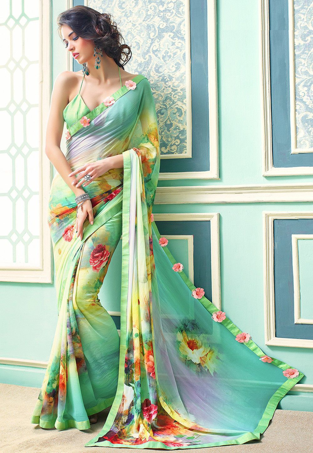 15e702c3f6 Buy online Digital Printed Georgette Saree in Sky Blue and Light Green now,  Item code: SSF4528, Color: Blue, Green, Occasion: Casual, Fabric:  Georgette, ...