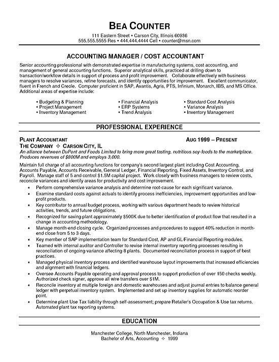 Accounting Resume Objective Cost Accountant Resume Example  Resume Skills Sample Resume And