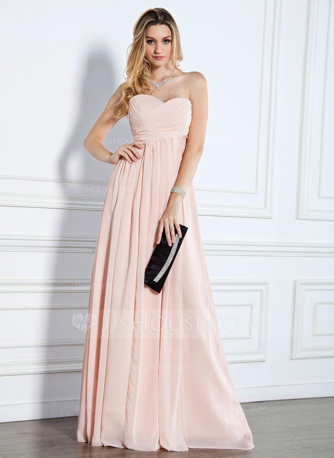 5d5a073d041 Empire-Linie Herzausschnitt Bodenlang Chiffon Abendkleid mit Rüschen  (017022510) - JJsHouse