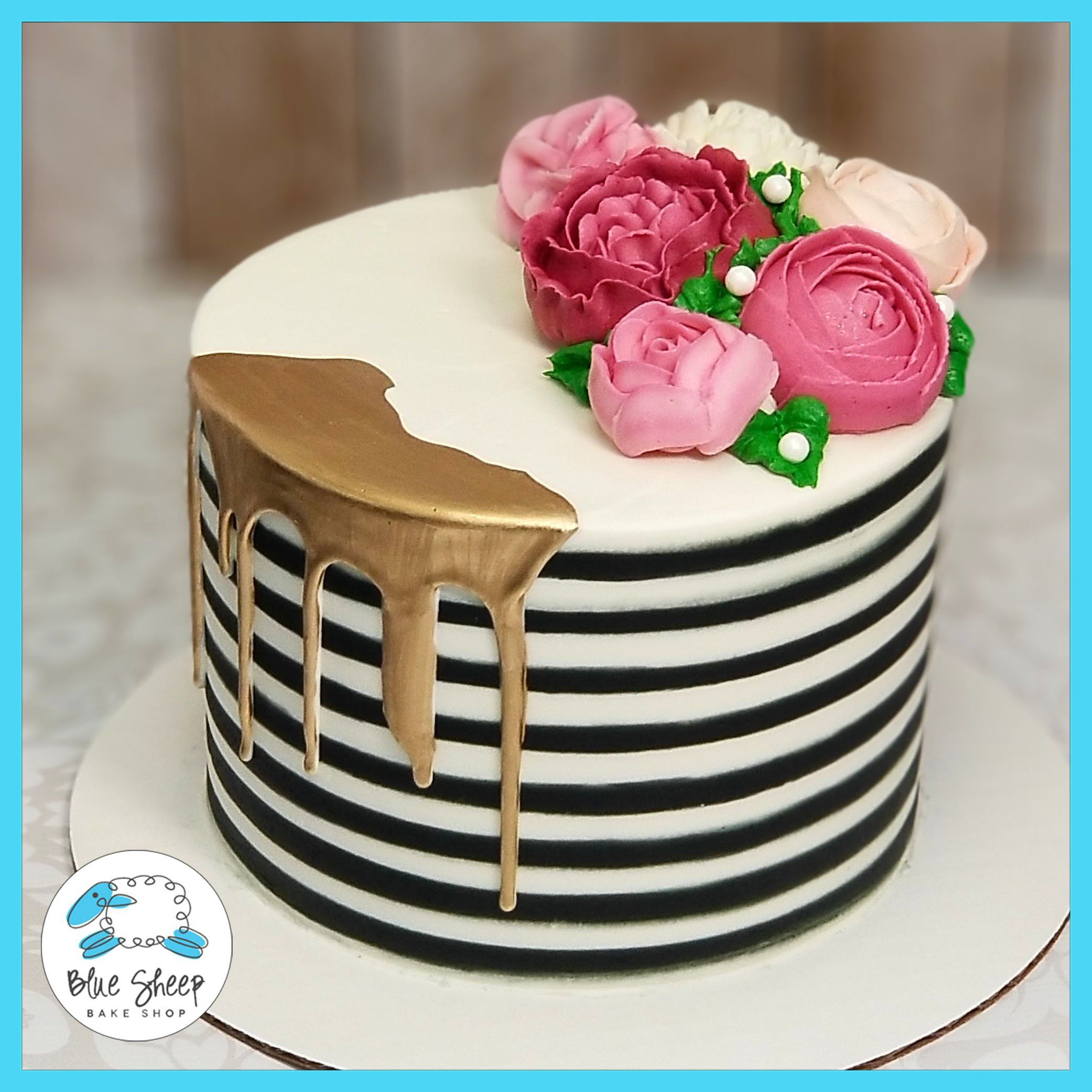 Black And White Striped Buttercream Cake With Pink Florals Nj Striped Cake Pink Birthday Cakes Buttercream Cake