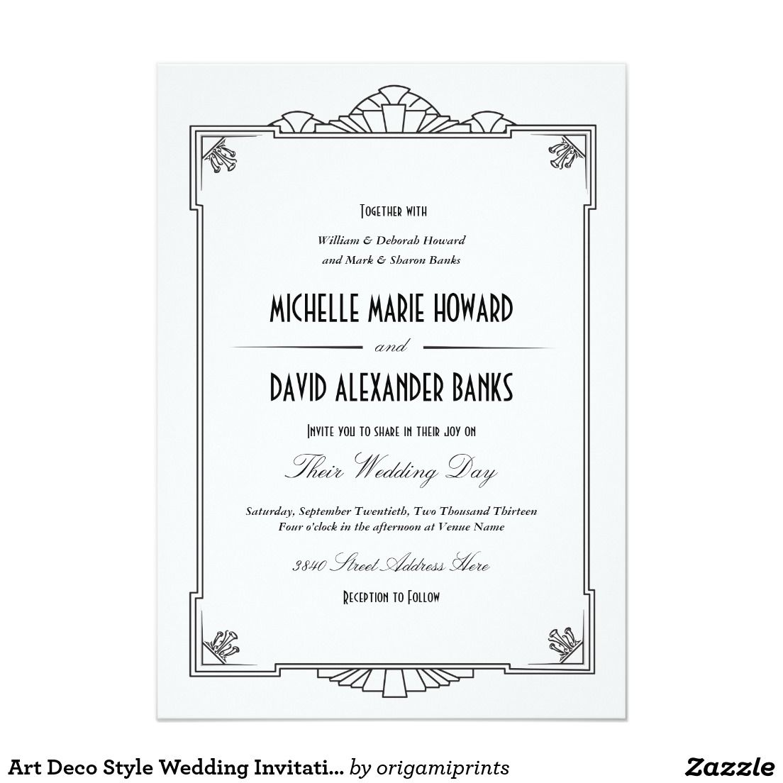 Art Deco Style Wedding Invitation | Art deco style weddings, Art ...