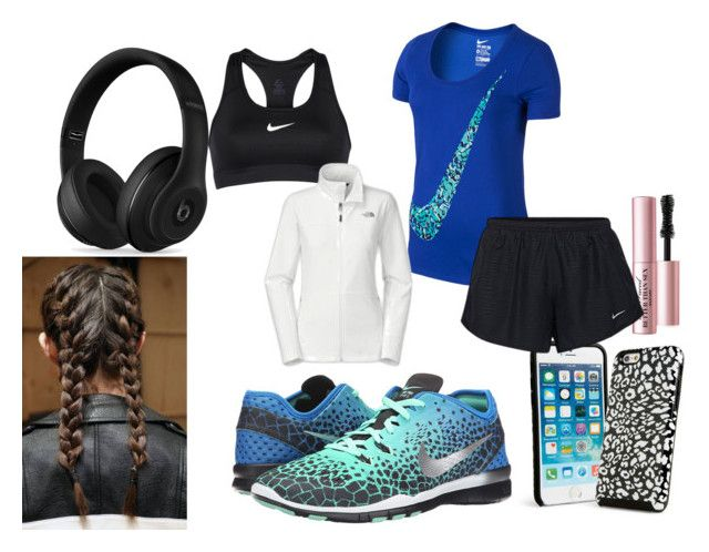 """""""workout"""" by elliereilly002 on Polyvore featuring NIKE, Vera Bradley, Beats by Dr. Dre, Too Faced Cosmetics and The North Face"""