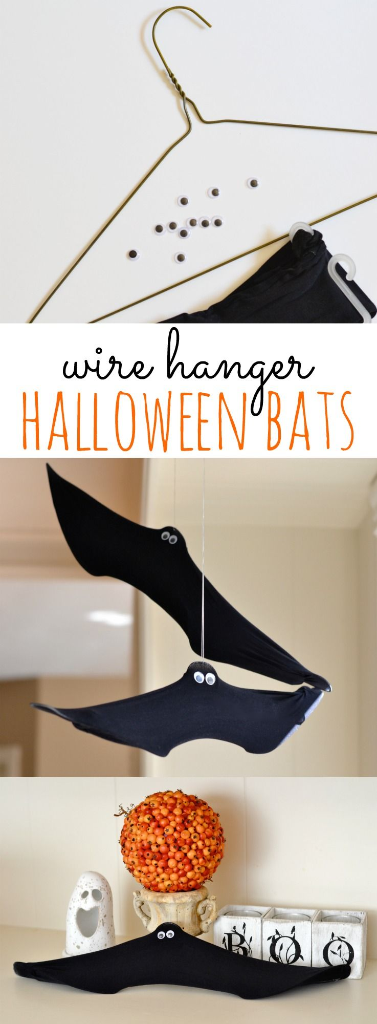 Diy halloween decorations bats - These Wire Hanger Bats Make The Perfect Diy Halloween Decorations They Re Inexpensive