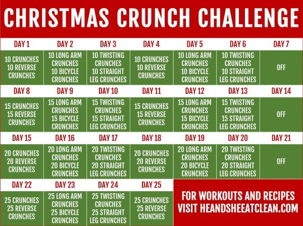 Get into the holiday spirit with this 25-Day Christmas Crunch Challenge! #abs #core #fitness #workou...