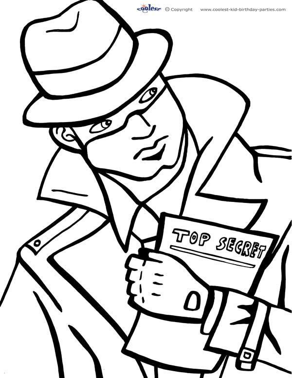 Printable Spy Detective Coloring