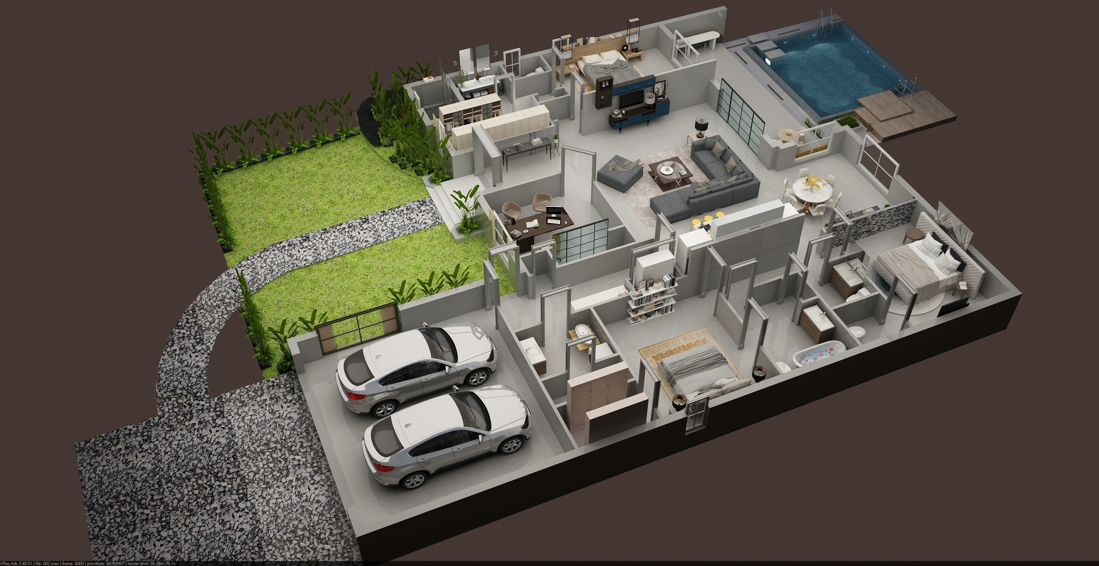Luxury 3d Floor Plan Of Residential House 3d Model Max Small House Design Plans Model House Plan Home Building Design