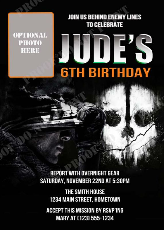 Personalized call of duty black ops ghost party photo invitations personalized call of duty black ops ghost party photo invitations diy printable no filmwisefo Image collections