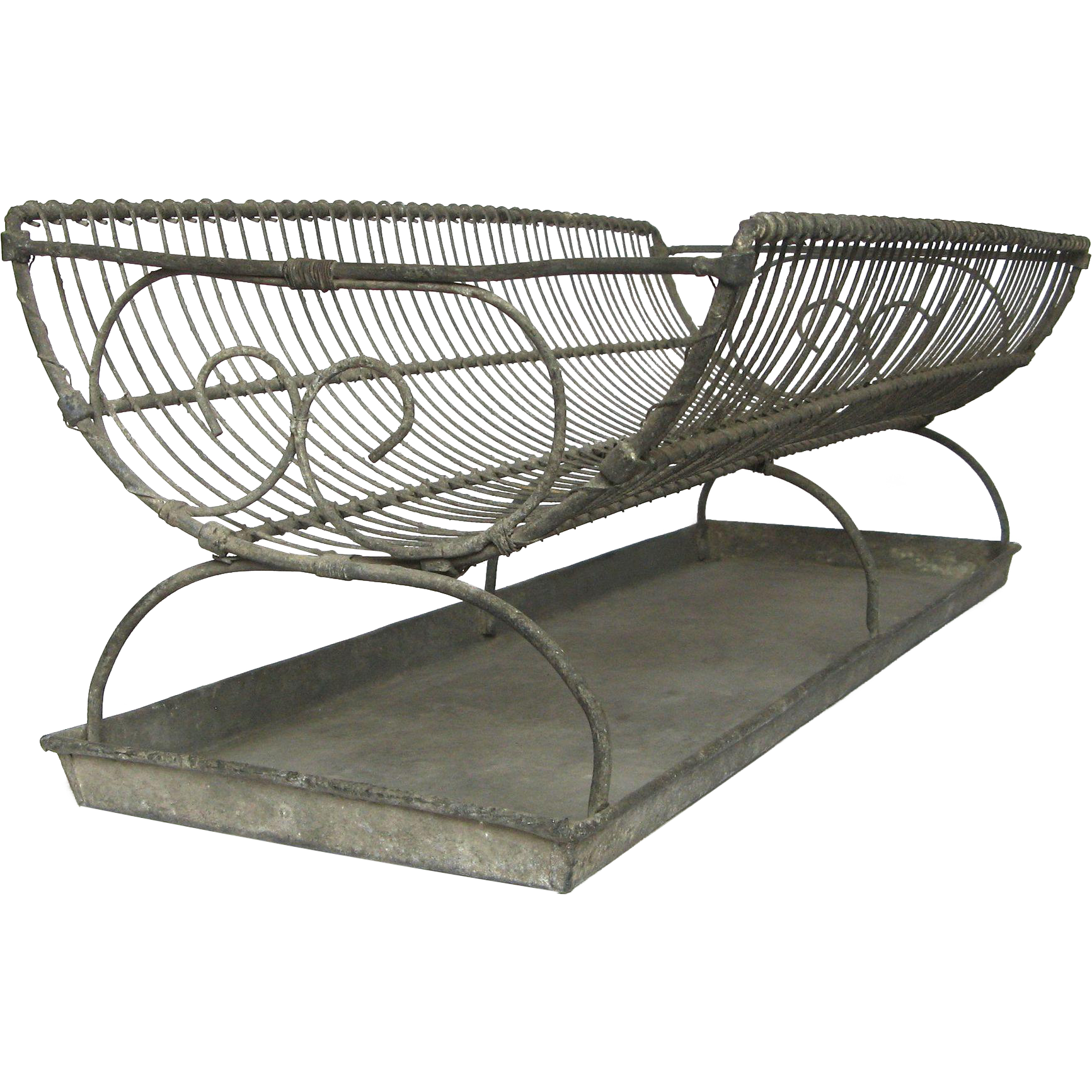 Xl Antique French Wire Dish Drainer With Zinc Tray Dish Dryer